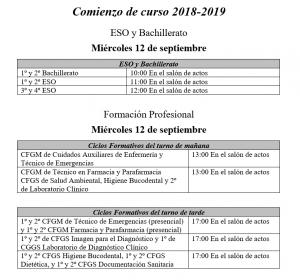 comienzo curso 2018 - 1