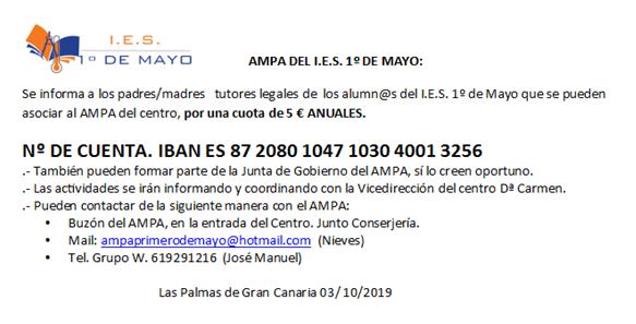 información AMPA Primero de Mayo